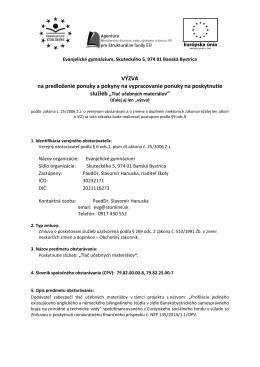 Výzva - Tlač učebných materiálov - Evanjelické gymnázium Banská