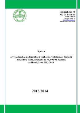 Hodnotiaca správa 2013/2014 - Vitajte na stránkach ZŠ Kupeckého