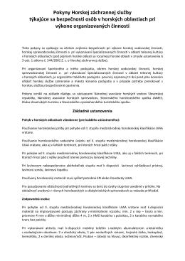 Pokyny Horskej záchrannej služby týkajúce sa bezpečnosti osôb v