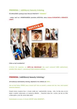 PREMENA - individuálny zážitkovyý beauty tréning