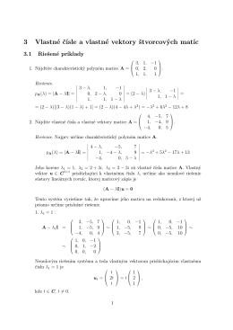vlastné čísla a vlastné vektory štvorcových matíc