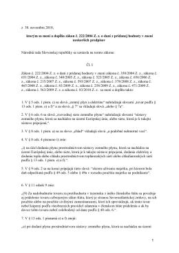 Novelizácie zákona o DPH z 30.11.2010
