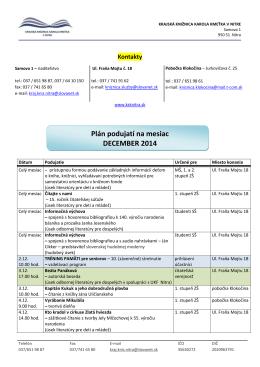 Plán podujatí na mesiac DECEMBER 2014
