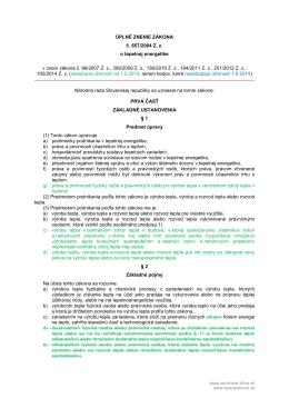 ÚPLNÉ ZNENIE ZÁKONA č. 657/2004 Z. z. o tepelnej energetike v