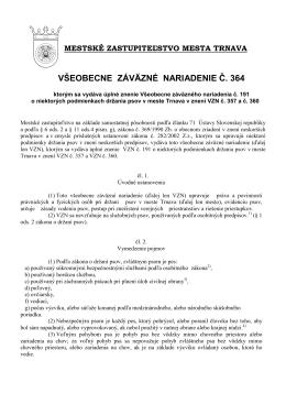 VZN 364 - Úplné znenie VZN 191