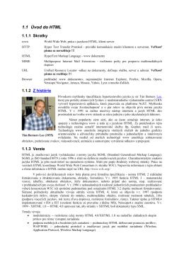 1.1 Úvod do HTML