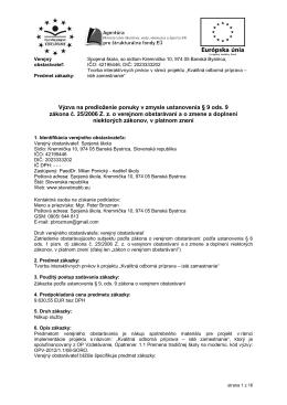 Výzva na predloženie ponuky - Spojená škola, Kremnička 10