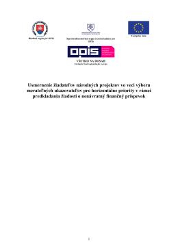 Usmernenie žiadateľov národných projektov vo veci výberu