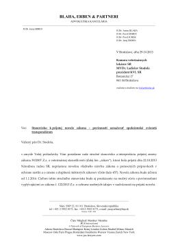 JUDr. Erbena k prijatej novele zákona o povinnosti označovať