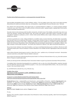 Tlačová správa k účasti filmu Koza