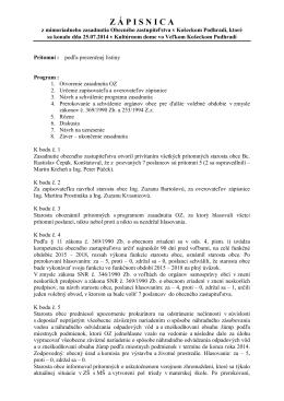 Zápisnica a uznesenie z 25.07.2014