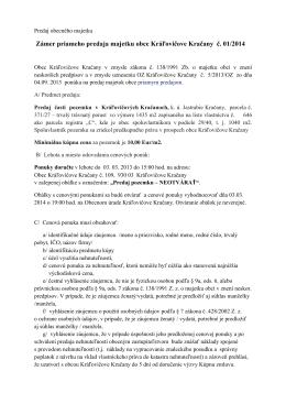 Predaj pozemku, zámer č. 01/2014