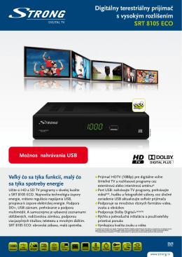 Digitálny terestriálny prijímač s vysokým rozlíšením SRT 8105 ECO
