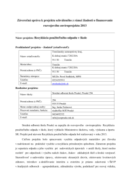 Záverečná správa k projektu schváleného z rámci žiadosti o