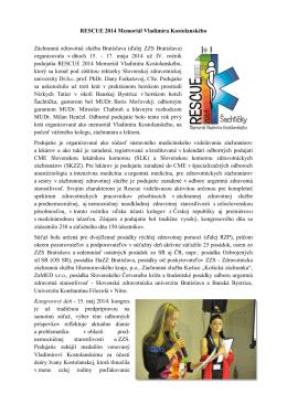 Článok o RESCUE 2014 Memoriál Vladimíra Kostolanského