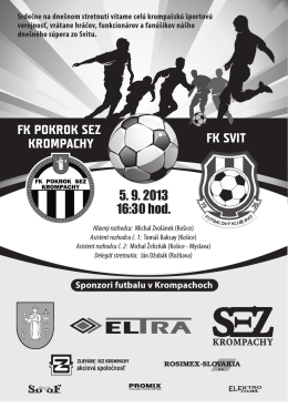 FK POKROK SEZ KROMPACHY FK SVIT 5. 9. 2013 16:30 hod.