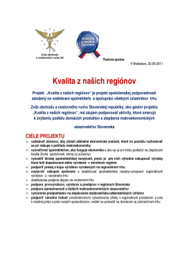Tlačová konferencia k projektu Kvalita z našich regiónov