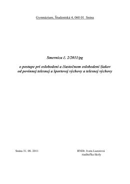 Smernica č. 2/2011/pg o postupe pri oslobodení a čiastočnom