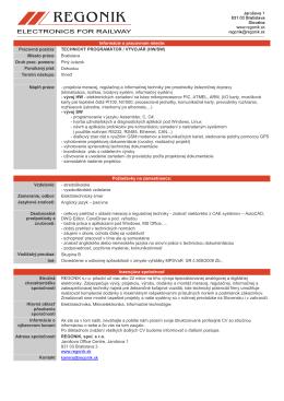 Informácie o pracovnom mieste: Pracovná pozícia