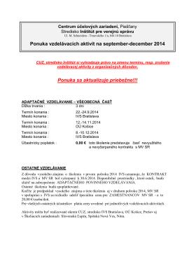 Ponuka VA na II. polrok 2014 - Inštitút pre verejnú správu