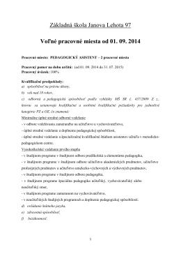 Základná škola Janova Lehota 97 Voľné pracovné miesta od 01. 09
