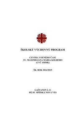 plán práce - Spojená škola sv. Maximiliána Mária Kolbeho