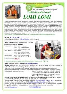 Tradičná havajská masáž LOMI LOMI