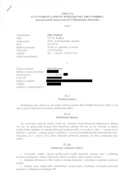 Zmluva o vytvorení a správe web stránky Obce Podbiel