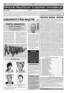 ZABUDNUTÍ PÁNI MAJSTRI (4) - Spolok priateľov Turzovky