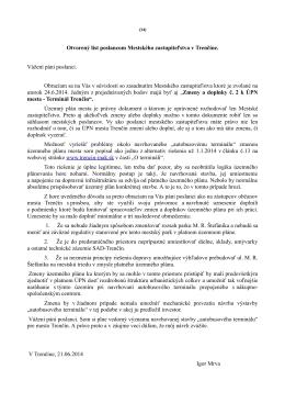 Otvorený list poslancom Mestského zastupiteľstva v - Trenčín-inak