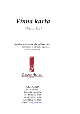 Vínna karta Wine list
