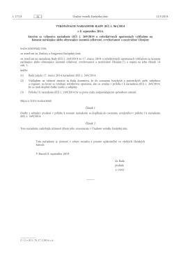 VYKONÁVACIE NARIADENIE RADY (EÚ) č. 961/ 2014