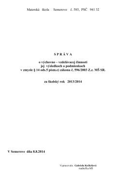 Správa o výchovno-vzdelávacej činnosti jej výsledkoch
