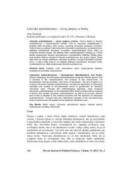 Litovský autoritarizmus – vývoj, prejavy a formy