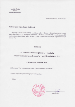 Y6ilen6 pani Mgr. Beata Stolirov6 s fiinnost`ou od 0I