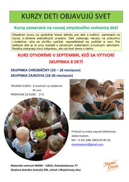 kurzy deti objavujú svet - Materské centrum Mami