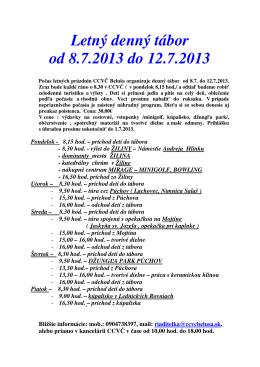 Letný denný tábor od 8.7.2013 do 12.7.2013