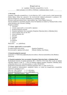 Zápisnica a uznesenie 12.12.2014