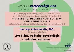 Večer o metódológii vied (9. 4. 2014)