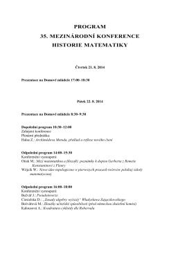 program 35. mezinárodní konference historie matematiky