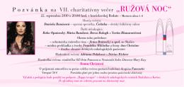 """P o z v á n k a  na VII. charitatívny večer """"RUŽOVÁ"""