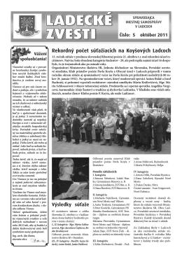 December 2011 - Aktuality obce Ladce