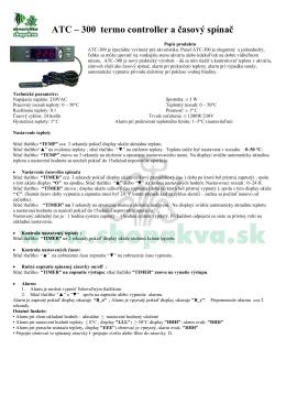 ATC – 300 termo controller a časový spínač - ABC-ZOO