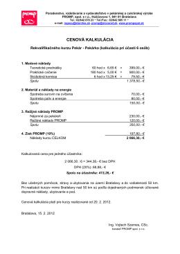 detailná cenová kalkulácia
