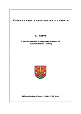 VZN 8/2008 o výške stravného a finančného príspevku v