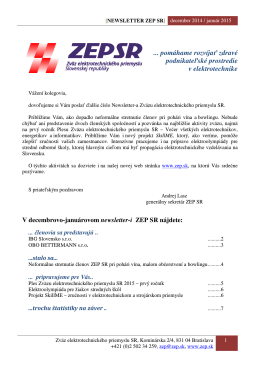 Newsletter ZEP SR - december 2014, január 2015