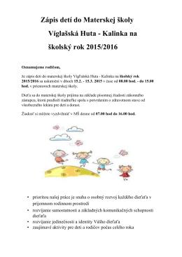 Zápis detí do Materskej školy Víglašská Huta