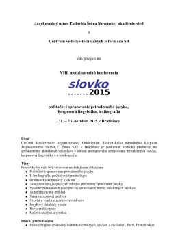 Pozvánka - Slovenský národný korpus