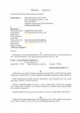Kúpna zmluva - Tomáš Vavro