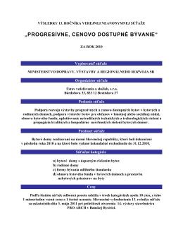 13. ročník - Ministerstvo dopravy, výstavby a regionálneho rozvoja SR